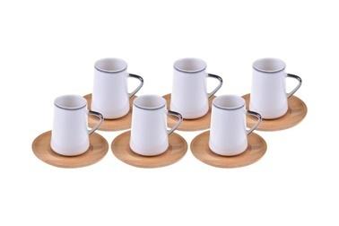 Bambum Cappu 6 Kisilik Kahve Fincan Takimi Gümüs Yaldizli Renkli